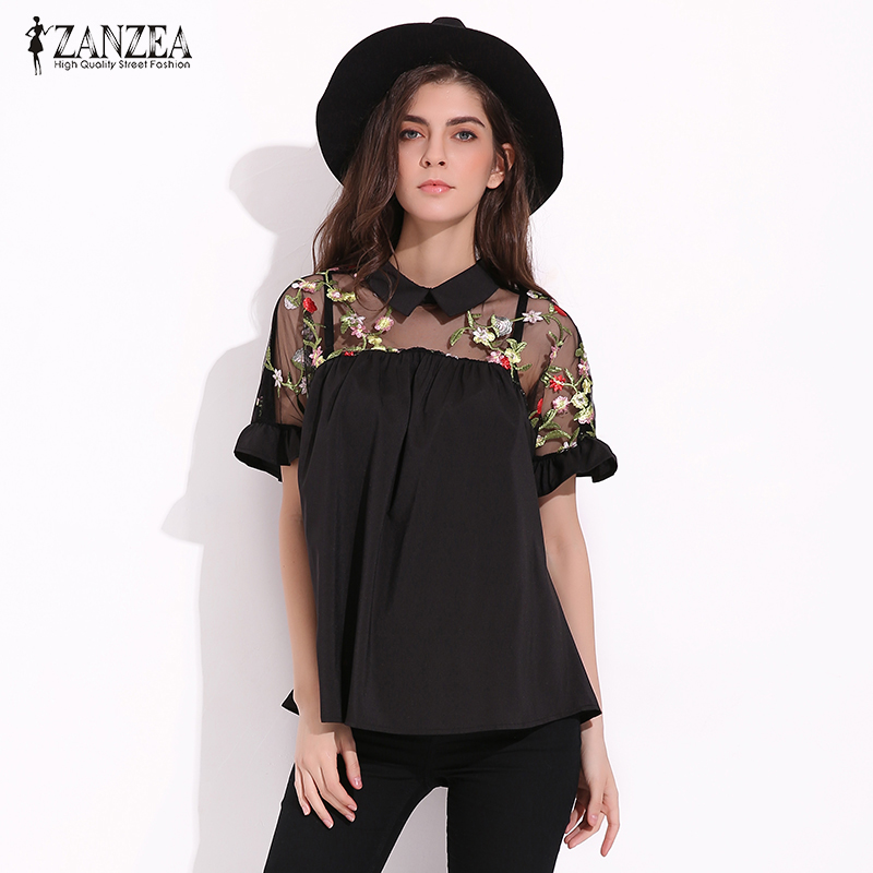 ZANZEA Women 2018 Summer   Blouses     Shirts   Vintage Floral Embroidery Blusas Sexy Mesh Patchwork Peter Pan Collar Short Sleeve Tops
