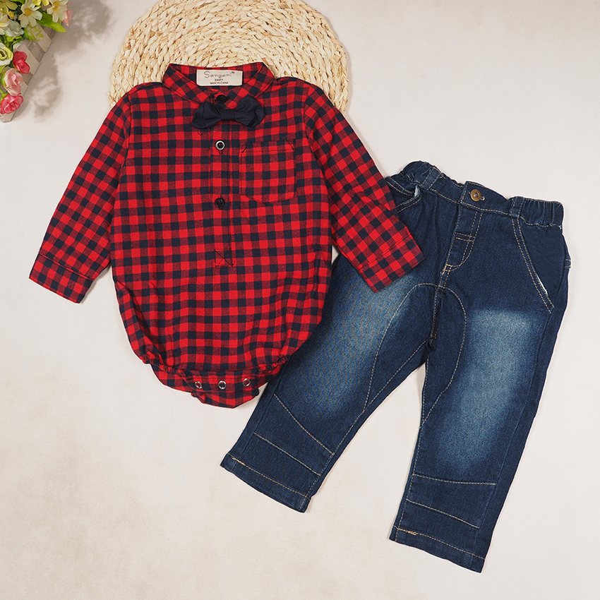 SAMGAMI BABY 2017 INS Spring and Autumn Baby Boys Clothing Set,boys Plaid Romper+jeans+tie 3 Pcs Suit,children Boys Clothes 1-3Y spring autumn boys clothing set fashion children suit set shirt tie vest pants kids 4pcs clothes set costume for baby boy