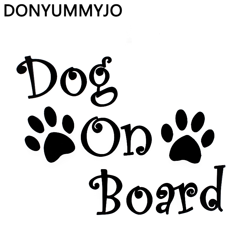 DONYUMMYJO 20cm*16.2cm Car Sticker DOG ON BOARD And Paw Prints Beautiful Vinyl Decals Car-styling RW-052 ...