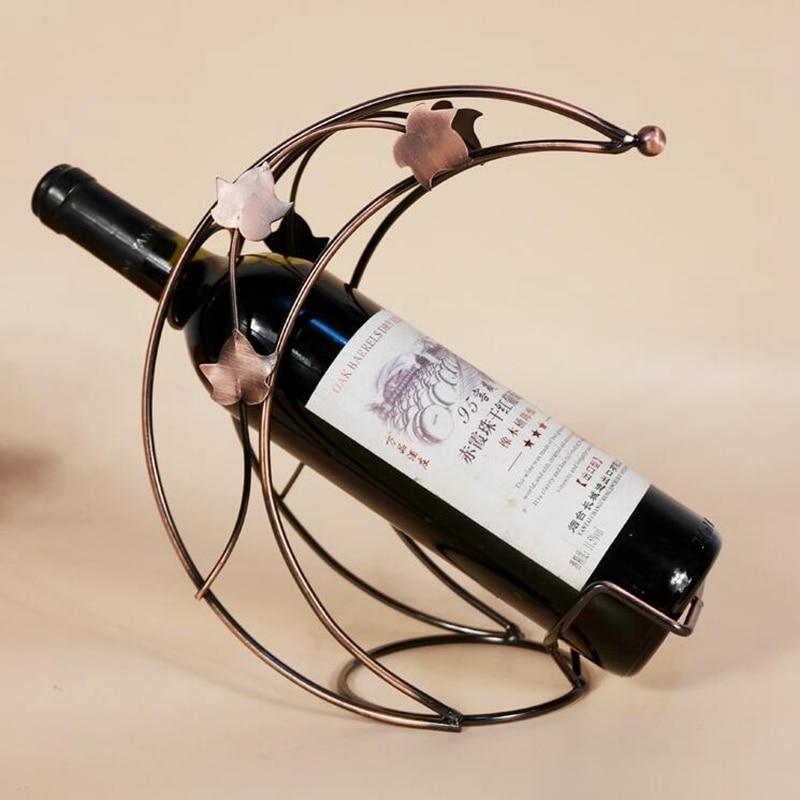 European Style Iron Red Wine Rack Bronze Metal Leaves Design Wine Holder Home Bar Decor Moon Model Shelf Beer Whisky Wine Bottle