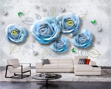 beibehang Custom 3D Photo Wallpaper Beautiful Blue rose pearl soft bag TV Wall Mural Living Room Bedroom Waterproof 3d Wallpaper beibehang custom wallpaper mural 3d blue flower hotel living room wall 3d wallpaper wall sticker wallpapers for living room