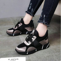 Womens Platform Wedge Low Heel Shoes Sneakers Sport Ankle Boots Autumn Woman Leather Short Boots Hidden Increasing shoes UU 98