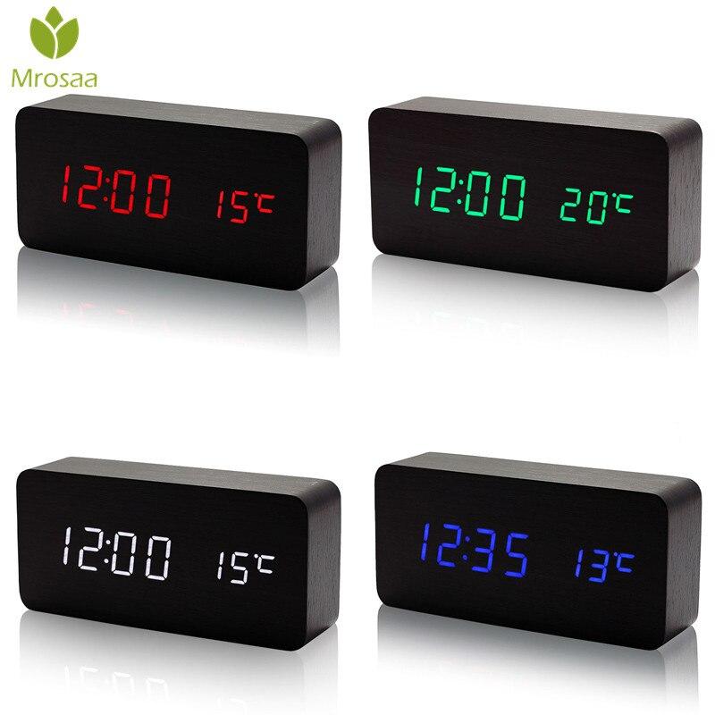 Elektronische LED Digital Wecker Temperatur Klingt Steuer Holz Tisch uhr Kalender Display Desktop Clock Beste verkauf