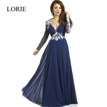 Marineblau Langarm Prom Kleider 2017 Vestido De Festa Zustell Sheer Spitze Appliqued Sexy Frauen Abend Lang Party Kleider