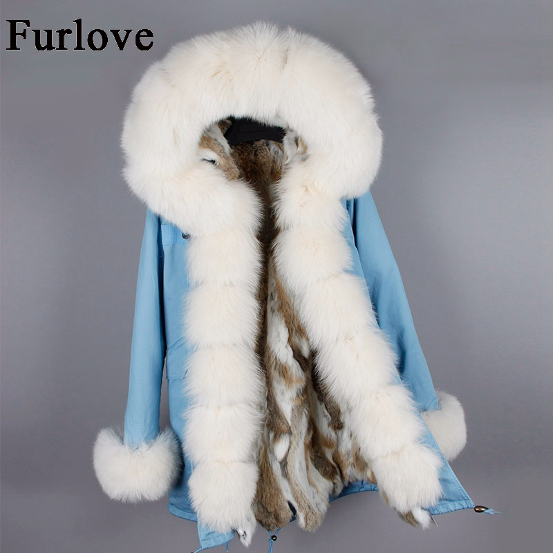 Womens Winter Jacket Women Real Rabbit Fur Coat Jackets True Fox Fur Collar Hooded Parkas Vintage Casual Warm Thick Long Parka 2017 winter new clothes to overcome the coat of women in the long reed rabbit hair fur fur coat fox raccoon fur collar