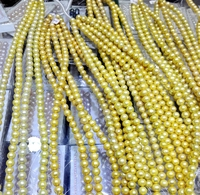 Natural Freshwater Pearl 12mm Bright Gold Color Pearl highlight pearl 36cm Strand Loose Beads women Jewelry