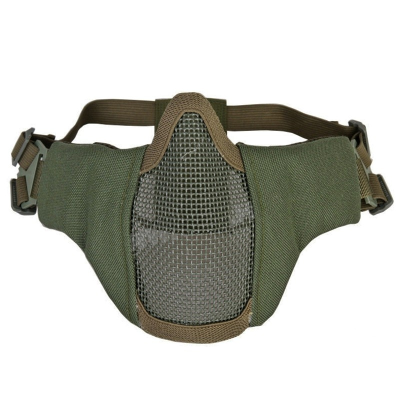 PDW Tactical Skull Half Face Metal Mesh Mask CS Outdoor Soft Air Mask Shooting Hunting Paintball Mask Olive Green
