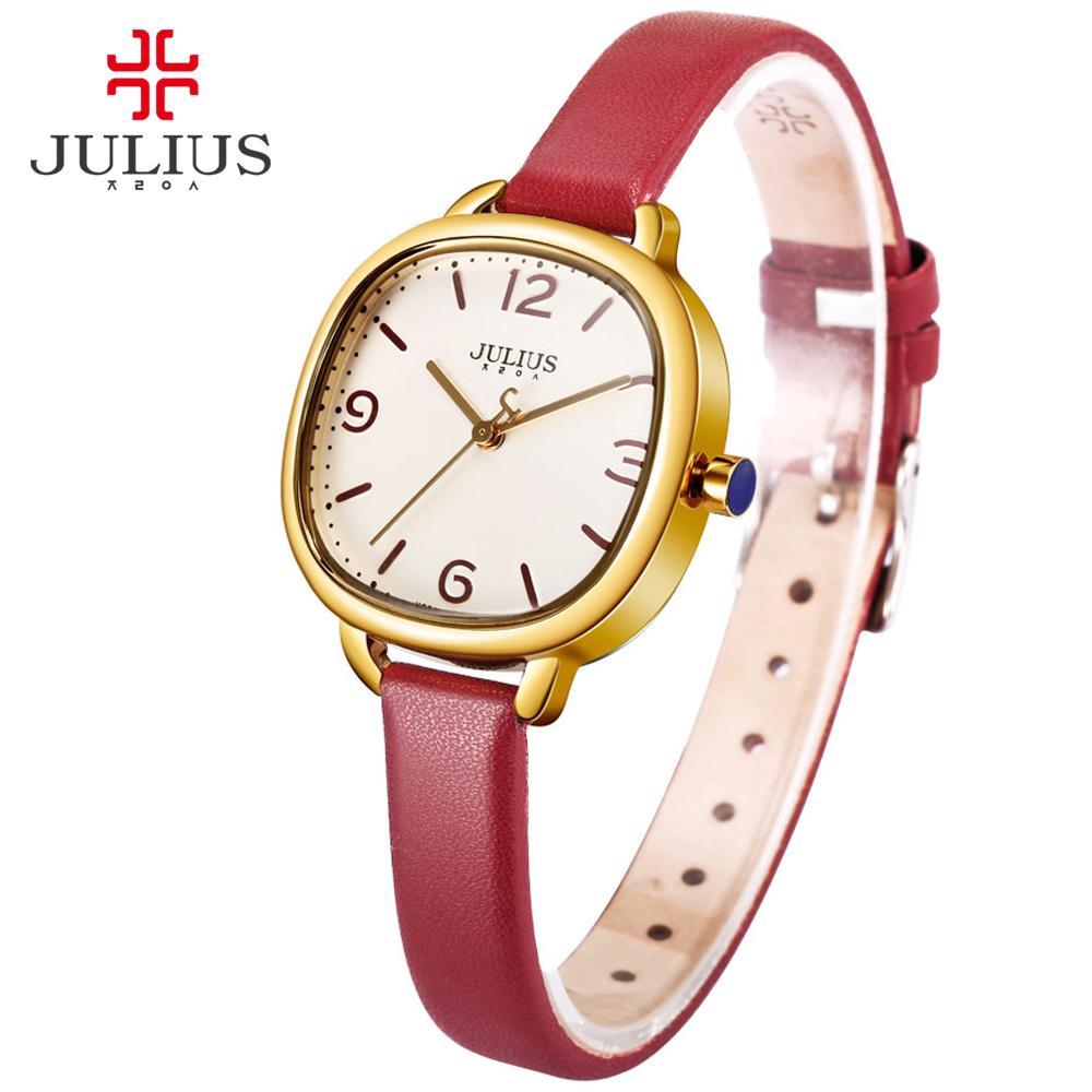 Prix pour JULIUS Amour Bracelet Montres Femmes Robe De Mode En Cuir Montres Étanche Carré Dames Montres Top Marque De Luxe wacht JA-928