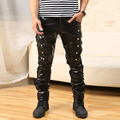Cool Men`s Leather Pants Punk Style Cotton Faux Leather Patchwork Skull Black Hip Hop Leather Trousers For Male