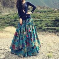 BOSHOW 2013 Chromophous Fluid Print Expansion Bottom Bust Skirt Print Thickening Full Dress