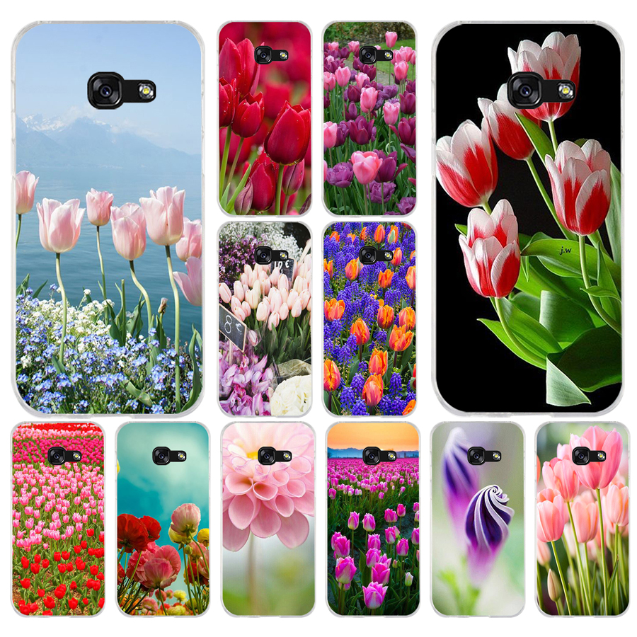 127A <font><b>Red</b></font> Blue Spring Tulips flower field Soft <font><b>Silicone</b></font> Tpu Cover phone <font><b>Case</b></font> for <font><b>Samsung</b></font> galaxy a3 <font><b>a5</b></font> 2016 <font><b>2017</b></font> a6 A8 2018 image
