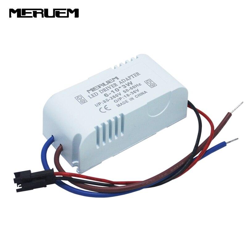 AC85-265V 110 v 220 v 6-10*3 w conduziu o motorista 18 w/21 w/24 w/27 w/30 w transformadores de iluminação da fonte de alimentação para a tira conduzida downlight à prova de fogo