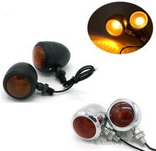 2PCS Metal Motorcycle Turn Signal Indicator Light Lamp Bulb For Harley /Cafe /Racer