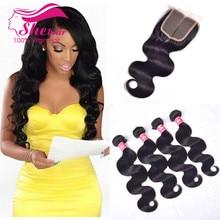 Brazilian Body Wave With Closure 4Pcs Brazilian Virgin Hair With Closure 100% Human Hair With Closure, Lace Closure With Bundles