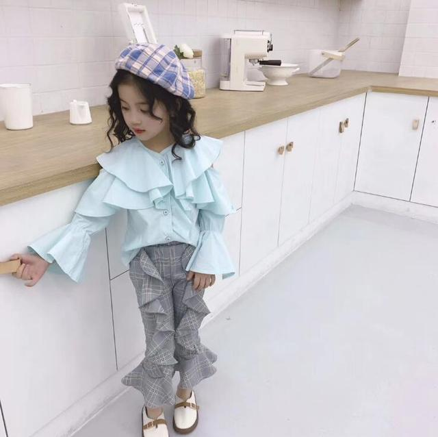 18d7202841c14c BY363 Ruffled Trend Girl Shirt 2019 Spring Fashion irregular Girl Flared  Pants CHildren Clothing size 100-140cm Wholesale