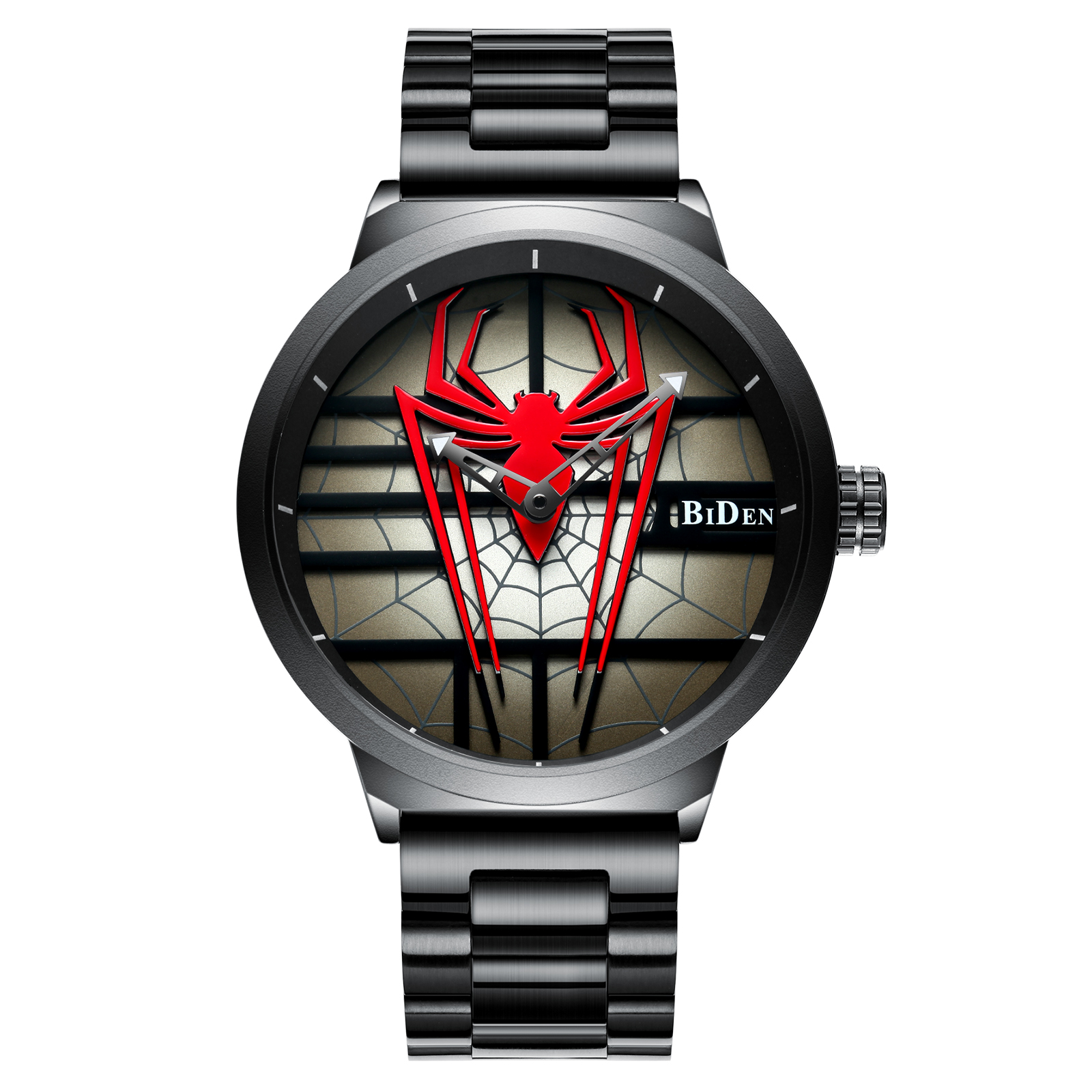 BIDEN Men's Quartz Watch Fashion Spider Dial Cool Men's Personality Quartz Watch Luxury Brand Japan Sports Unique Watch Spider-M цена и фото