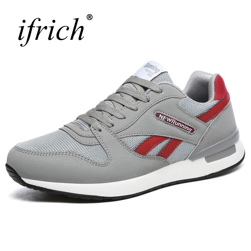 Ifrich 2018 новая спортивная обувь Для мужчин Бег Кружево до серого Мужчины Бег Обувь для прогулок удобные человек дизайнер обуви дешевые