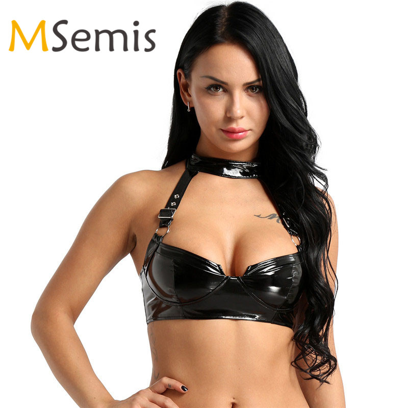 Womens Lingerie Sexy Bra Top Wet Look PU Leather Bra Halter Neck Adjustable Buckle Straps Back Zippered Wire-free No Pad Bra Top