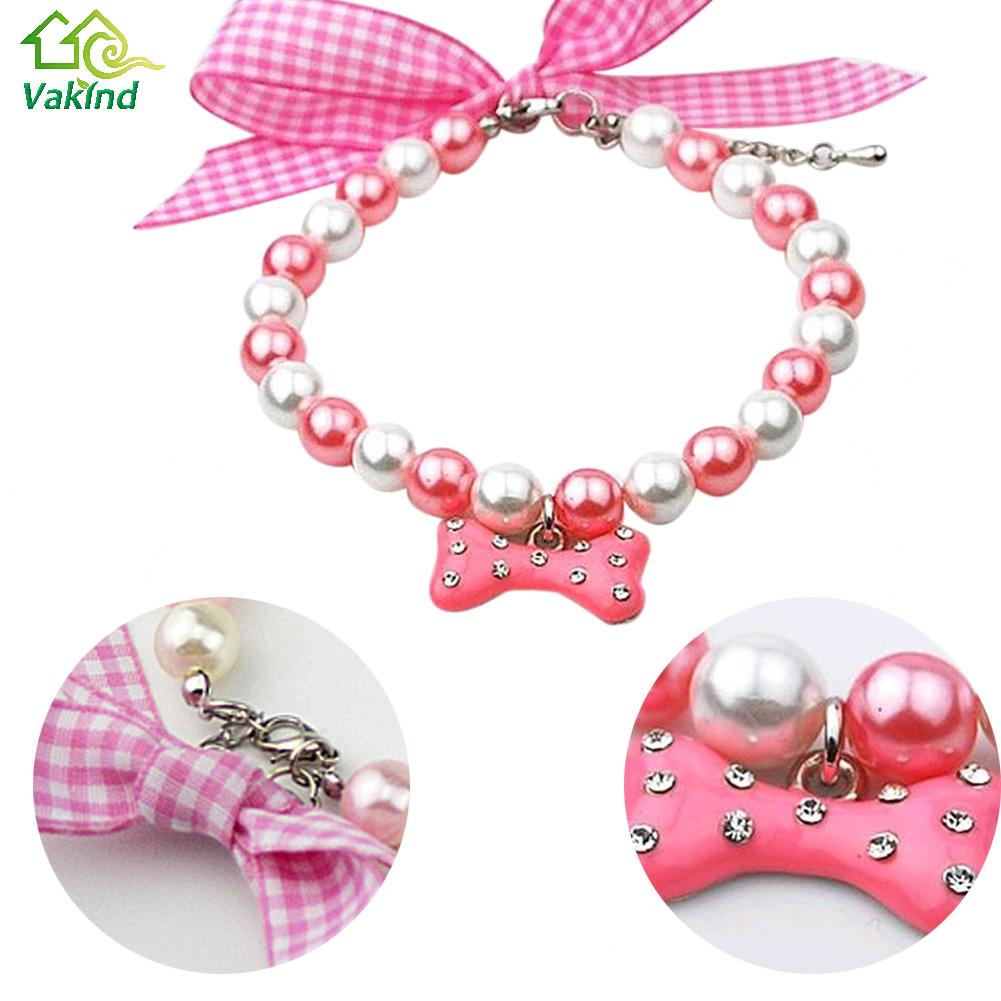 Pet Decoration Adjustable Pearls Silk Ribbon Dog Cat Pet Collar Necklace Bone Pendant For Dogs S/M/L