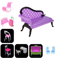 New Dollhouse Rocking Couch Bench Chair Lounge Computer Chair For Barbie Livingroom Bedroom Garden Child Furniture Toy Gift(China)
