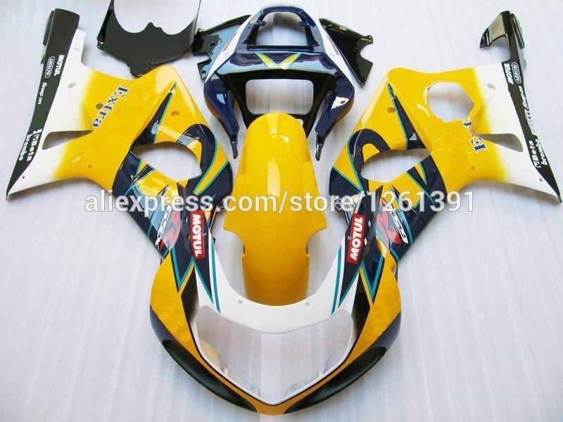 Подходит впрыска желтый комплект синих обтекателей для SUZUKI GSX-R1000 GSXR1000 GSX R1000 GSXR 1000 K2 K1 00 01 02 2000 2001 2002 Fairin