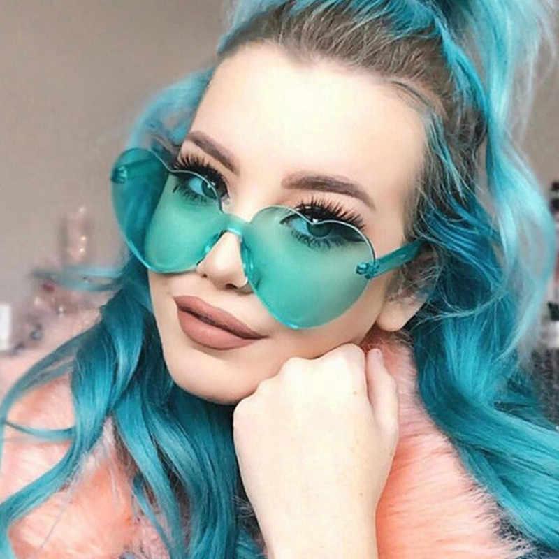 Amor coração em forma de óculos de sol sem aro para mulher 2018 marca designer óculos de sol grandes dimensões feminino doces cor óculos