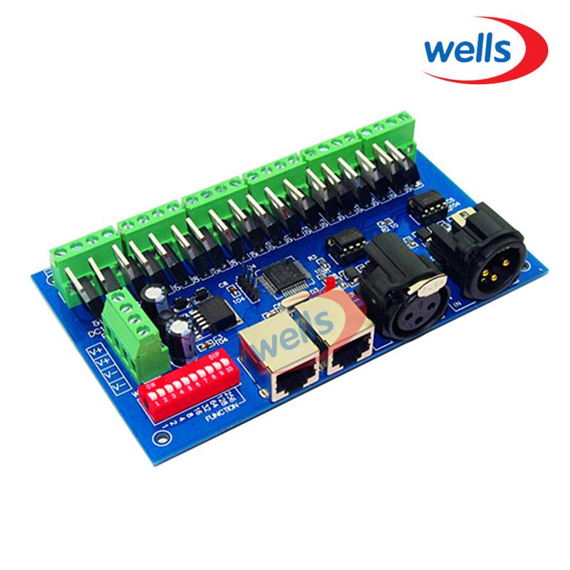 LED DMX512 18CH Controller DC 12-24 V DMX512 Decoder met RJ45 Uitgang Voor RGB LED Strip Module Controller