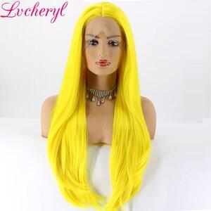 Image 2 - Lvcheryl, желтый цвет, Натуральные Прямые, ручная работа, термостойкие волосы, синтетические кружевные передние парики для косплея, Drag Queen, макияж