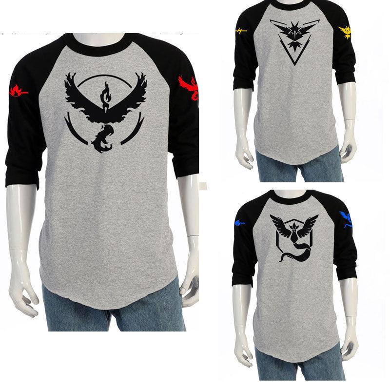 2016 Hot Pokemon Go Team Valor Team Mystic Team Instinct Pokeball O Neck Splice T-Shirt Red Blue Yellow Top