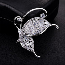 Zircon butterfly brooch for women high-grade insect brooch pin clothing scarf dress accessories rhinestoned butterfly brooch