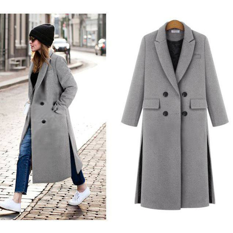 2018 Autumn Winter Women Wool   Trench   Coat Double Breasted Woolen Blend Coats Ladies Thicken Plus Cashmere Windbreaker Feminino