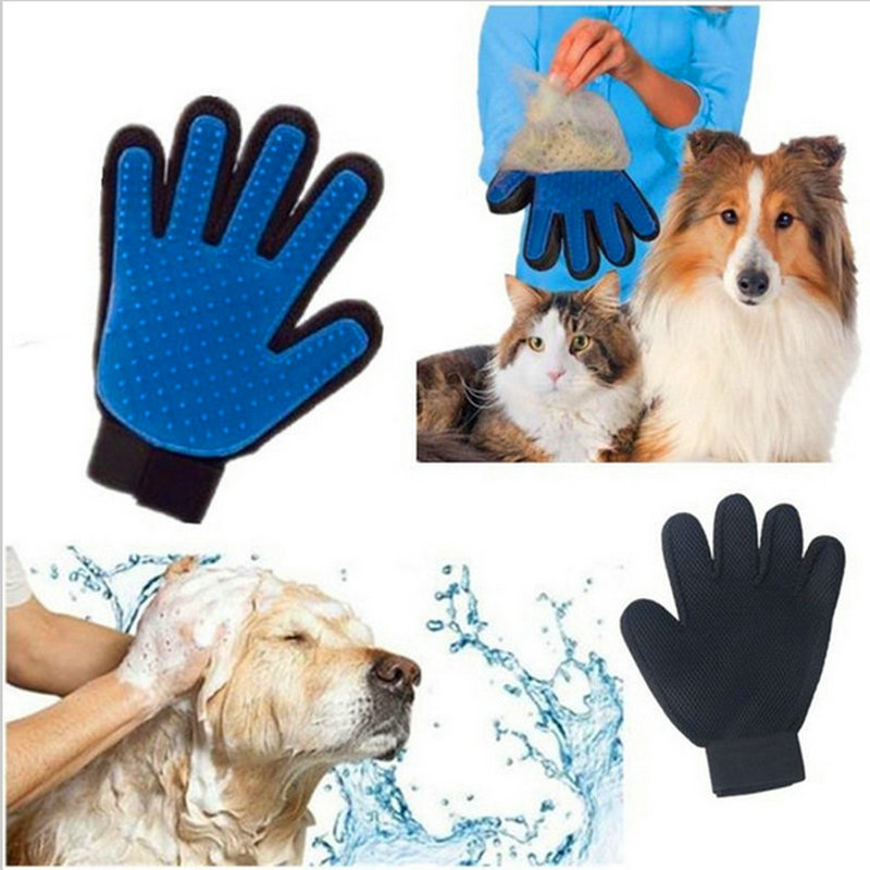 2018 new Dog Pet brush Glove Deshedding Gentle Efficient Pet Grooming Glove Dog Bath Cat cleaning Glove Dog combs work gloves cat and dog pet cleaning massage gloves brush