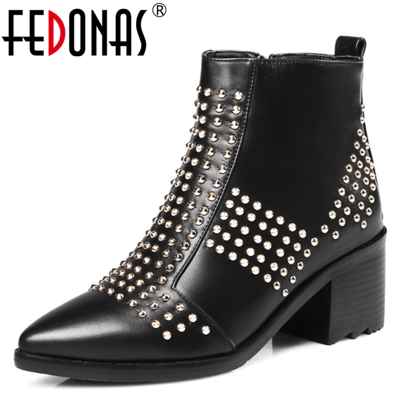 FEDONAS New Women Genuine Leather Ankle Snow Boots Women Motorcycle High Heel Gothic Punk Rivets Brand