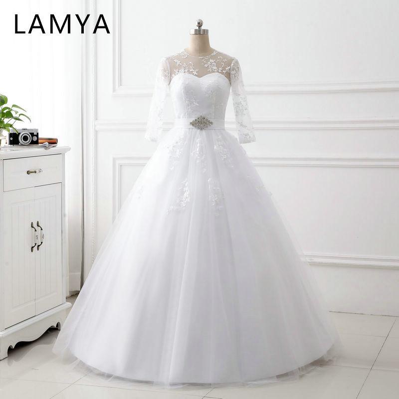 LAMYA Elegant Wedding Dresses Long Lace Sleeve Simple Crystal Sashes Wedding Dress White Cheap Bridal Gown Vestido De Noiva