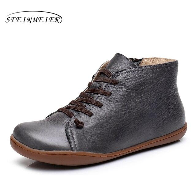 Для женщин; повседневные кожаные ботильоны Удобная качественная Мягкая ручной работы туфли на плоской подошве цвет синий, черный; Большие размеры 34–43 сапоги 2017