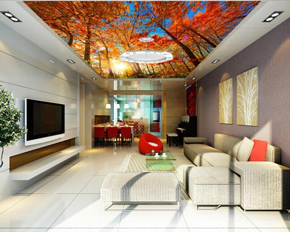 US $29.0  Benutzerdefinierte 3D wandbilder, Herbst ahornbaum abgehängte  decke dekorativen wandmalereien, wohnzimmer sofa TV wand schlafzimmer ...