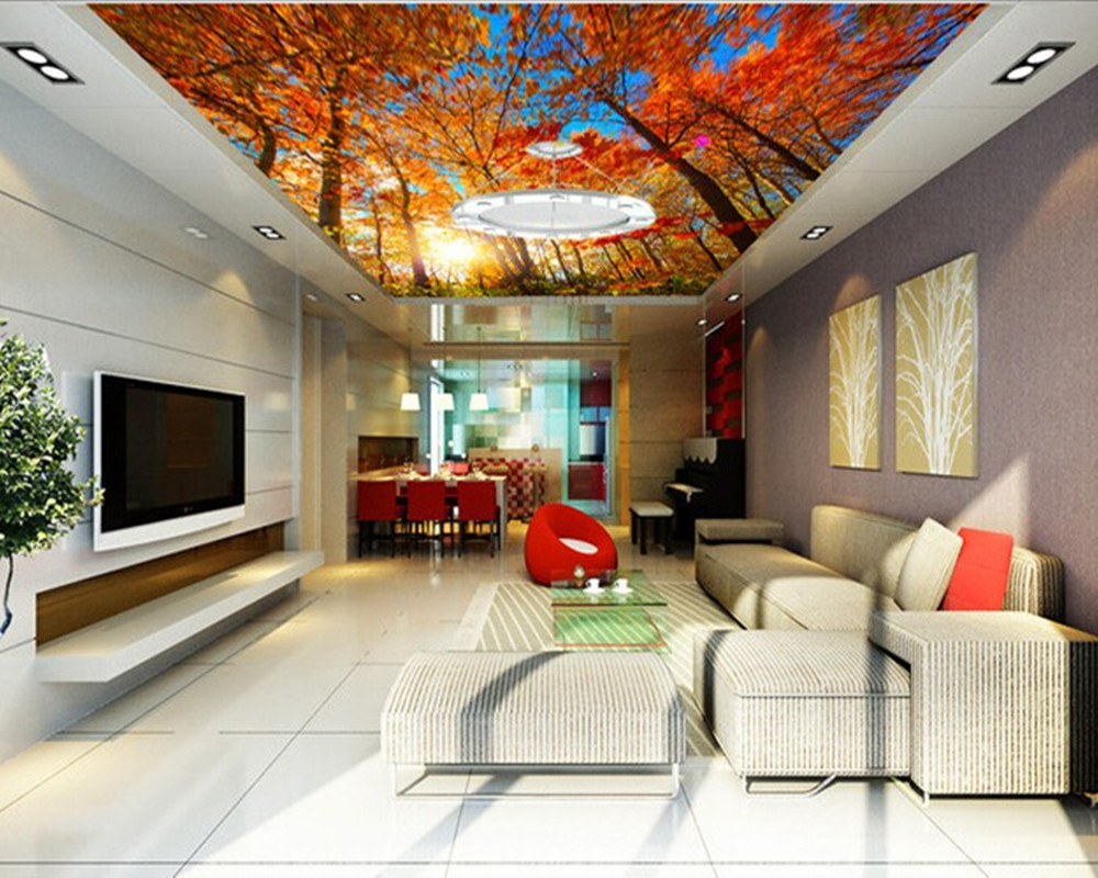 Custom 3D murals,Autumn maple tree suspended ceiling decorative murals ,living room sofa TV wall bedroom background wall paper abstract fashion ceiling murals wallpaper dynamic lines wall paper for kids room living room bedroom ktv hotel 3d ceiling murals