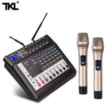 TKL контрольно-6-канальный микшерный пульт с Мощность усилитель Беспроводной микрофон эффектор конференции Запись микшерная этап караоке Bluetooth