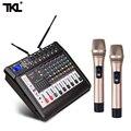 TKL контрольно-6-канальный микшерный пульт с Мощность усилитель Беспроводной микрофон эффектор конференции Запись микшерная этап караоке ...