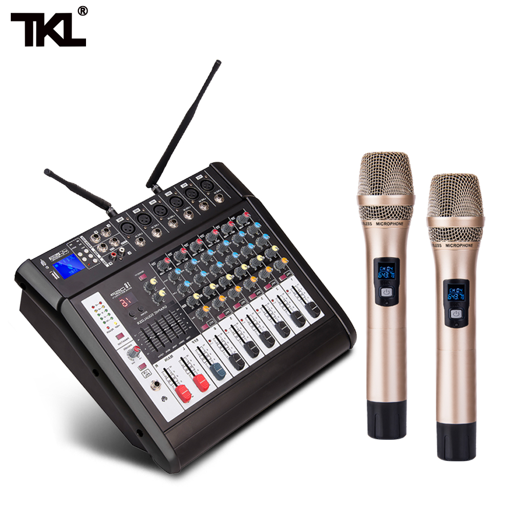 TKL 6-Channel Mixer with Power Amplifier Wireless Microphone Effector Conference Recording Sound Mixing Stage Karaoke BluetoothTKL 6-Channel Mixer with Power Amplifier Wireless Microphone Effector Conference Recording Sound Mixing Stage Karaoke Bluetooth