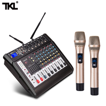 цена на TKL 6-Channel Mixer with Power Amplifier Wireless Microphone Effector Conference Recording Sound Mixing Stage Karaoke Bluetooth