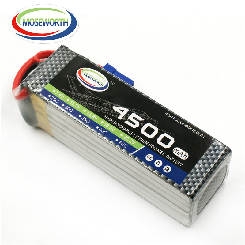 MOSEWORTH RC Lipo Battery 22.2v 6S 4500mAh 25C For RC Aircraft Quadcopter Cars Airplane Helicopter Drones Li-ion Battery 6S Cell