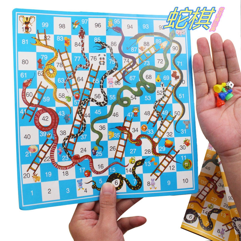 US $0 17 17% OFF|New Products Easy To Carry Folding Snake Chess Snake  Ladder Chess Children's Educational Educational Paper Toys rRndom Colors on