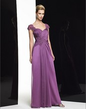 free shipping 2014 new design vestidos de festa long dress purple lace chiffon plus size party evening elegant formal gown