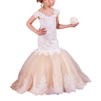 Champagne Mermaid Dresses For Little Girls 2 12years Tulle Party Ball Gowns For Kids Long Fancy