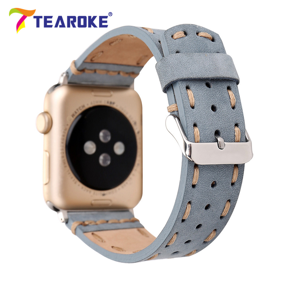 Retro Handmade Sewing Genuine Leather Watchband For Apple Watch 38mm 42mm Blue Brown Replacement Bracelet Band Strap for iwatch handmade 22mm 22mm vintage brown black ostrich skin leather strap retro watchband for kelpy pilot watch