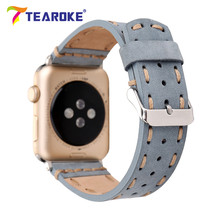 Retro Handmade Sewing Genuine Leather Watchband For Apple Watch 38mm 42mm Blue Brown Replacement Bracelet Band Strap for iwatch