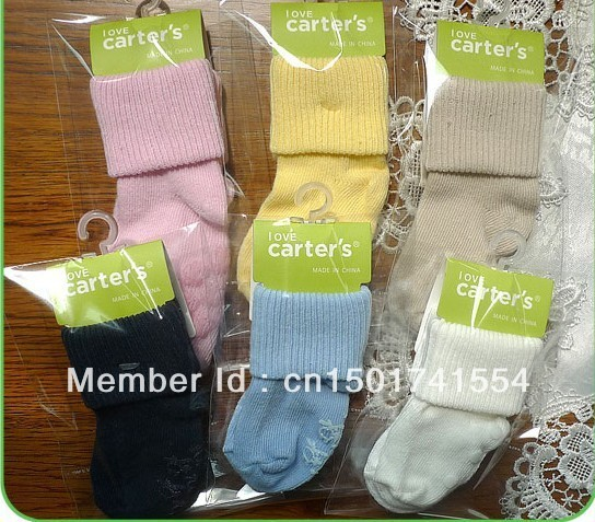 free shpping New arrival hot-selling 100% cotton children girl and boy autumn winter socks Carter powder baby cotton socks socks