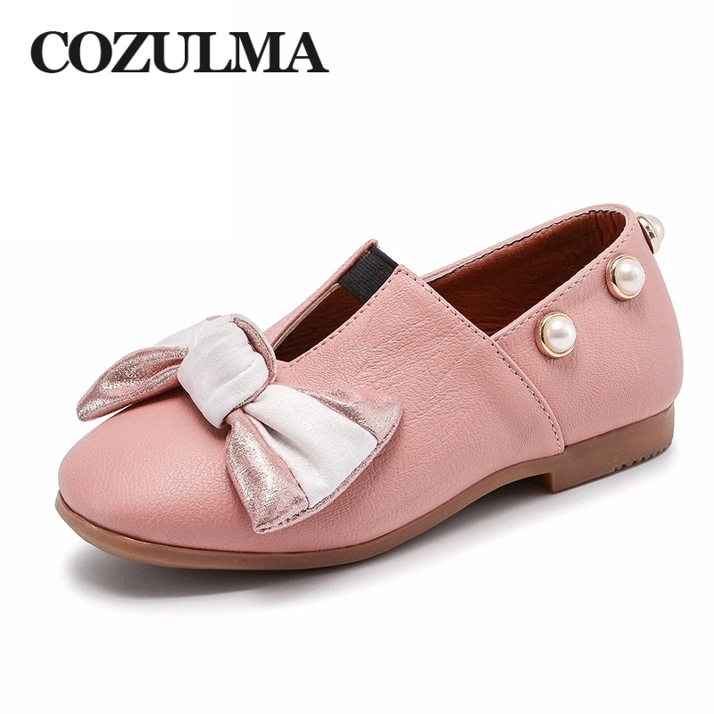 COZULMA Spring New Children Causal Shoes Girls Bow Pu Leather Shoes Kids Pearl Flat Shoes Kids Fashion Sneakers Size 26-36