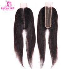 Аманда Ким К прямые волосы на шнуровке 2*6 дюймов с детскими волосами бразильские человеческие волосы швейцарское кружево средняя часть remy 1 шт